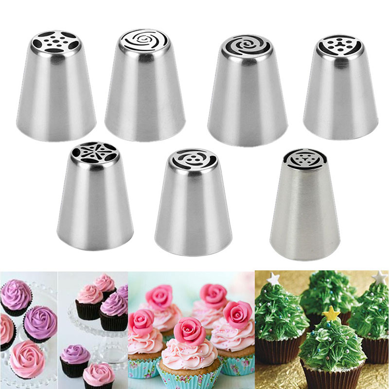 New Cake Decorating Tips From Russia : 2016 7pcs Russian Tulip Flower Icing Piping Nozzles Cake ...