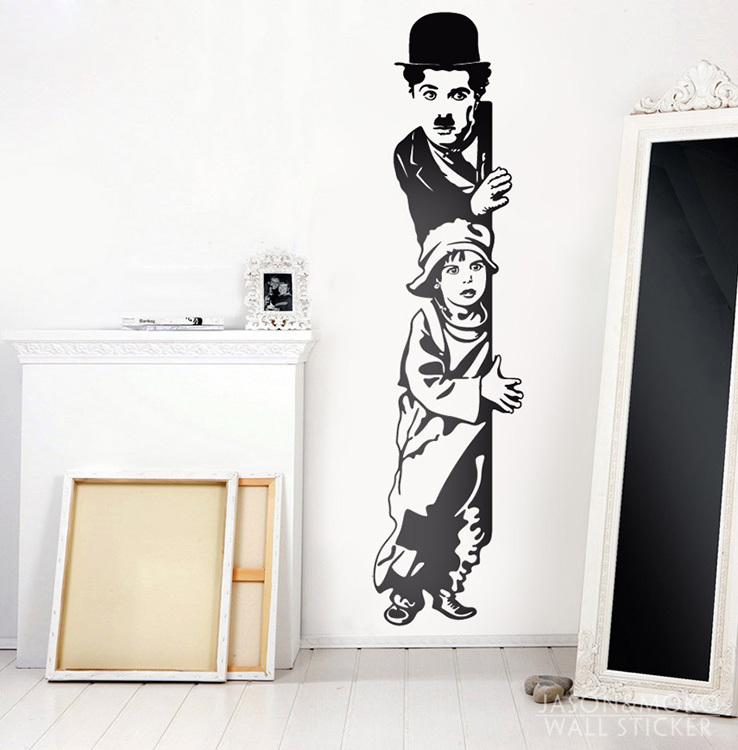 Home Decorative vinilos-decorativos-chaplin-the-kid Vinyl Wall Sticker Home Decor 35*140CM wallpaper(China (Mainland))