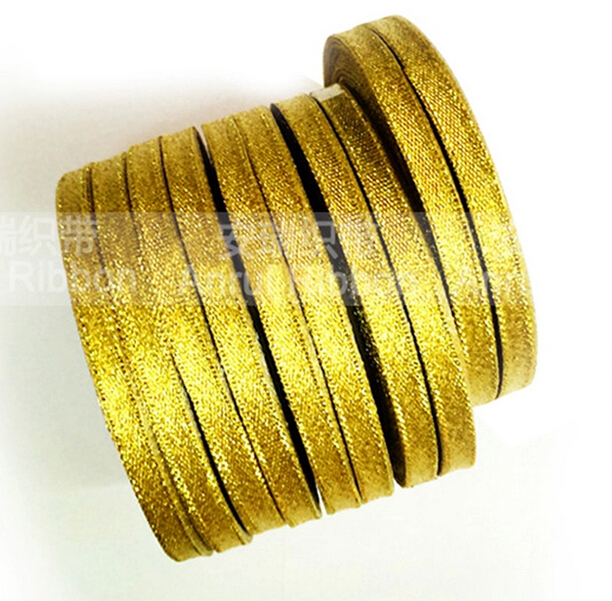 25Y gold ribbon for gift packing belt wedding party Christmas embellishment ribbon sewing accessories