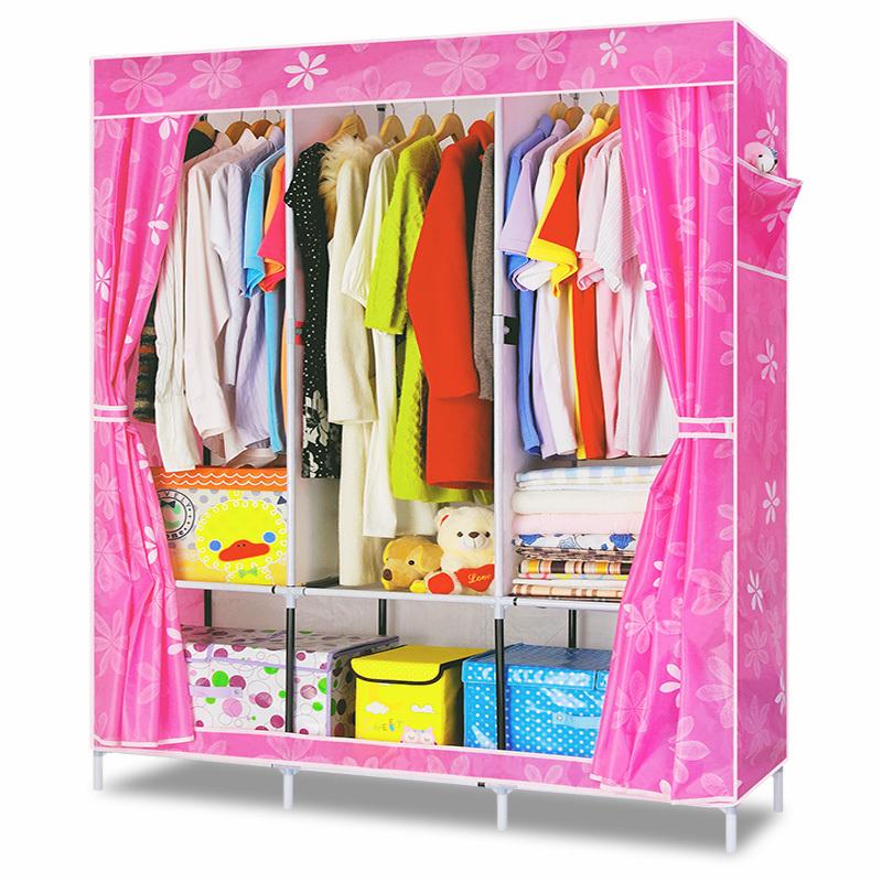 DIY Simple Clothes Wardrobe Combination Non-woven Fabric Large Capacity Bedroom Furniture Storage Cabinet Portable Wardrob(China (Mainland))