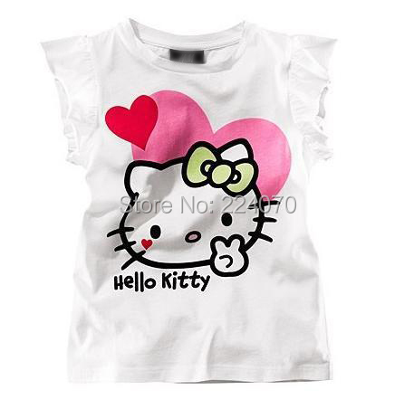 Free shipping children summer cute cartoon hello kitty kids girl short t shirt clothes 4 colors favorite kind of tops t shirt