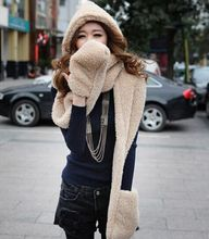 2015 Korean style 1 pcs winter scarf cute female Siamese thicker plush hooded scarf hat glove sets three one(China (Mainland))