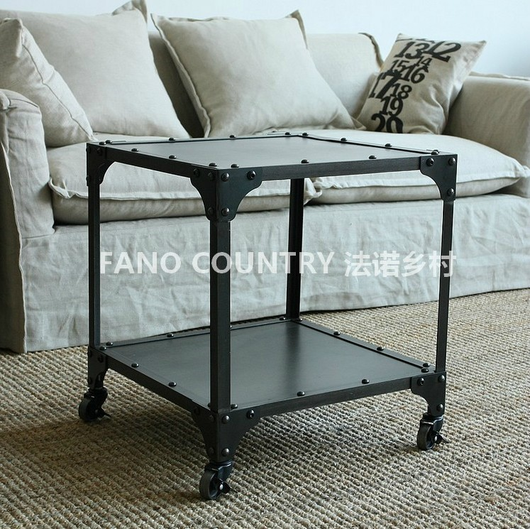 Industrial Metal Coffee Table With Wheels: Iron Side Table LOFT Industrial Wind Wheel Coffee Table