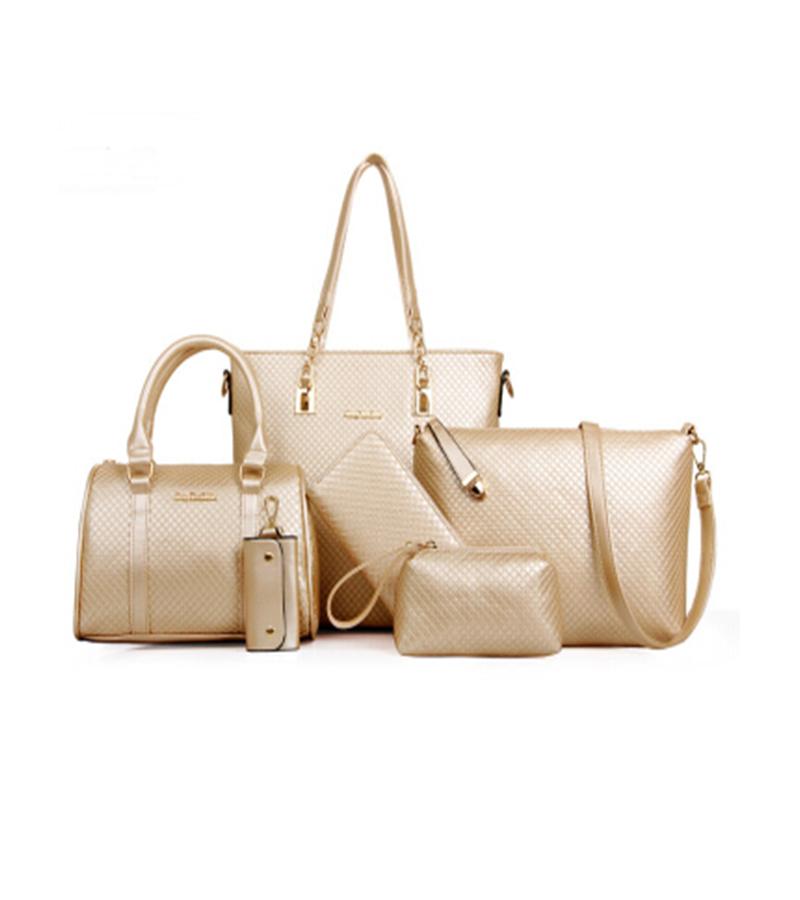 HOT Mother pack Leather Big shoulder bag+shoulder bag+Coin Purse+handbag+Wallet +Key package Solid 6 set bags 8 colors WHC(China (Mainland))