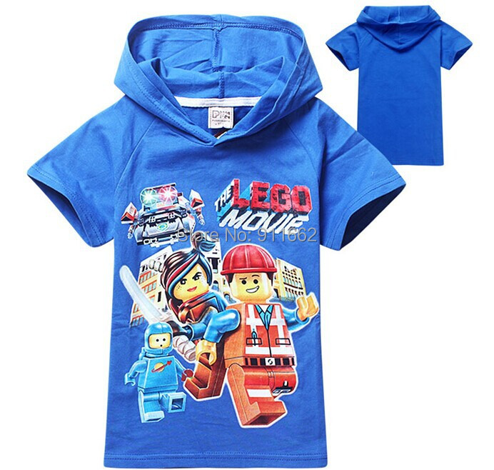 Lego Movie New Childrens Top Cartoon Hoodie T Shirts For 3 -9Yrs Boys Summer Cotton Tees Casual Short Sleeve Hooded 4 Colors(China (Mainland))