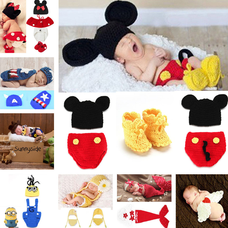 Hot Sale Mickey Design Newborn Crochet Photo Props Nursling Baby Beanie Hat Shorts& Shoes Set Infant Photo Props MZS-14016-J(China (Mainland))