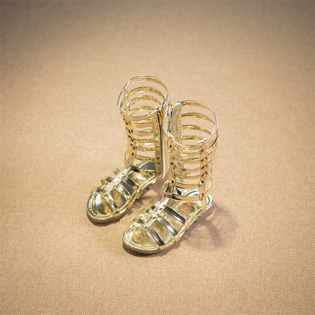 2016 летних девочек римские сандалии тканые Gaotong прохладно открытым носком сапоги мода прилив продукты скольжения черный желтый серебряный