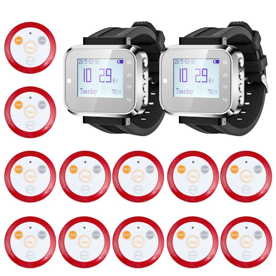 KERUI Fashionable & Hot Sale Black Waiter Service Calling alarm System Watch Pager button Service System (KR-C166+12 F64)(China (Mainland))