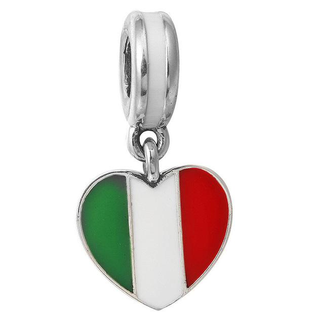 Сердце Форма Италия Флаг Шарм Подвески Fit Ожерелье Браслет Big Hole Подвеска DIY ...