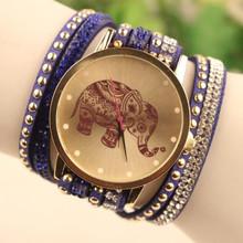 New Sale 2015 Popular Diamond Jewelry Quartz Watch Women Dress Watches Relogio Feminino Fashion Elephant Pattern
