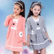 Girls Spring and Autumn 2016 New Children's Leisure Suits Long Princess Dot Floral Dress Cotton Girls Cardigan Overcoat Sets(China (Mainland))