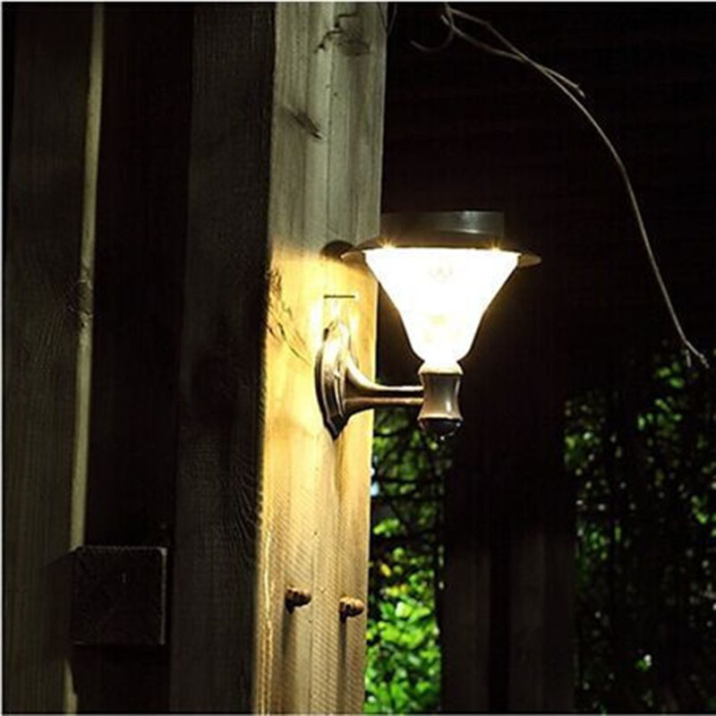 Solar Outdoor LED Light Fixture, Pole/Post/Wall Mount Kit, For Patio Deck Yard Garden Home ...