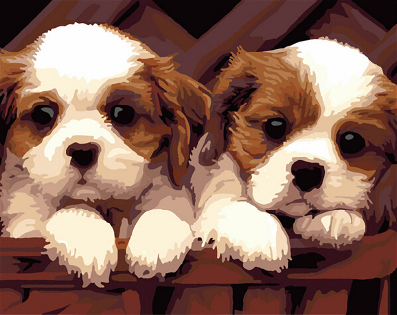 Frameless Picture On Wall Acrylic Painting By Numbers Wall Sticker Numbers Unique Gift Coloring By Numbers Two Little Dogs(China (Mainland))