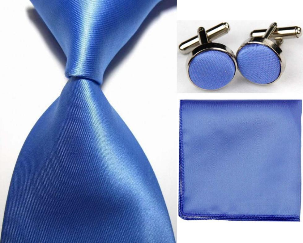 SNT0414 NEW Solid Plain Light Blue Ties Hanky Handkerchief Cufflinks Ties Men s Business Casual Party