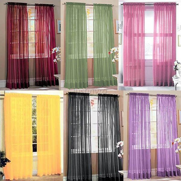 Hot Sell Scarf Sheer Voile Door Window Curtains Drape Panel Valance Curtains New Free Shipping(China (Mainland))
