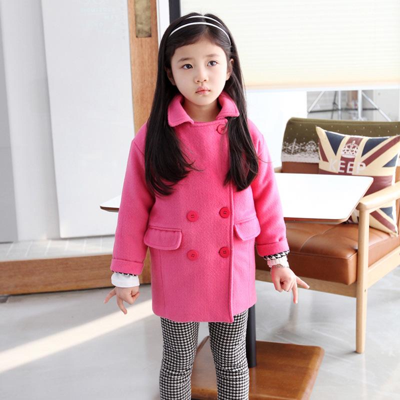Шерстяное пальто девушка 2015 новый верхняя одежда пальто шерстяные девушка искусственного меха куртка двубортный с длинными рукавами 3 - 9 т девушки шерсть пальто дети