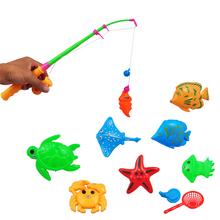 Hot Magnetic Fishing Toy Rod Model Net 10 Fish Kid Children Baby Bath Time Fun Game(China (Mainland))