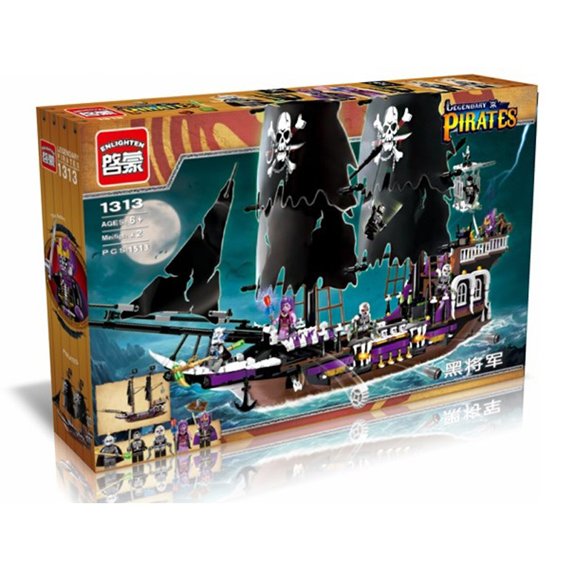 1535Pcs Hot New Pirates of the Caribbean Black general ship large model Christmas Gift Building Blocks toys Compatible With Lego