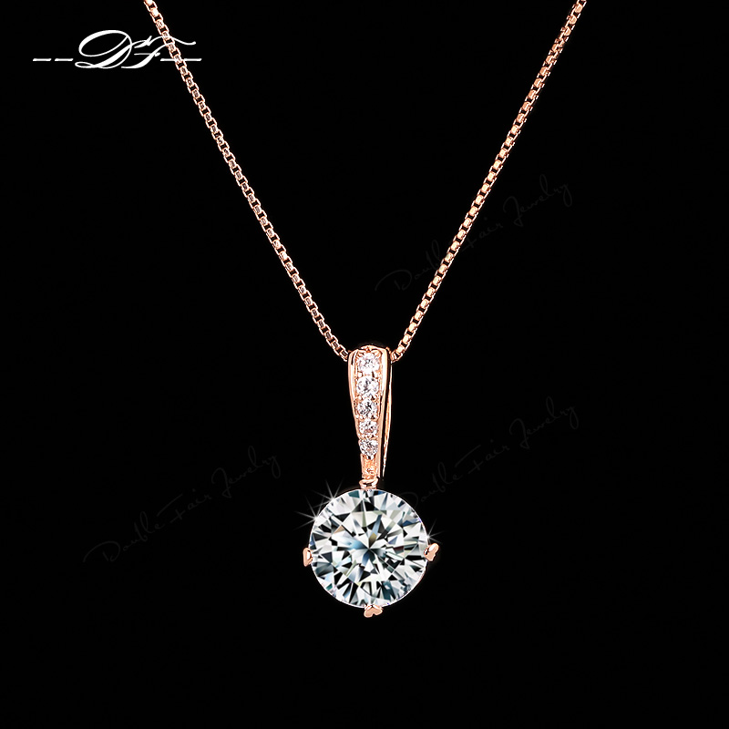 Double Fair OL Style Cubic Zirconia Chain Necklaces & Pendants Rose Gold Color Fashion Crystal Wedding Jewelry For Women DFN426(China (Mainland))