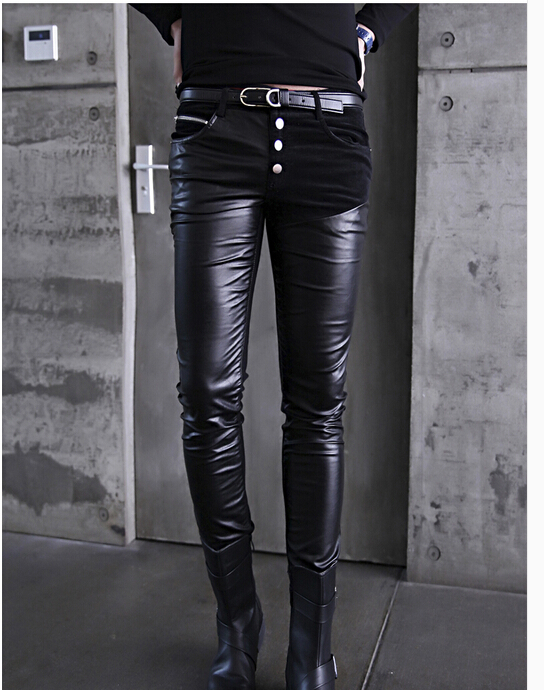 Black spring fashion personality mens faux leather pants outdoors PU leather long trousers brand skinny slim splice clothing(China (Mainland))