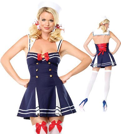 Plus size women halloween costumes Navy Blue Nautical Cosplay Costumes Party Game Stage Plus Size Sailor Costume(China (Mainland))