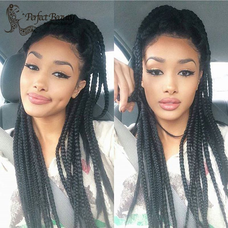 """Фотография Black Box Braids with Baby Hair 18"""" Synthetic Natural Hair Heat Resistant Lace Front Wig"""