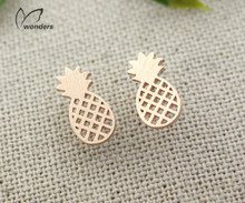 2016 New Minimalist Women Decoration  Pusety Cute Pineapple Stud Earrings Rose Gold Earrings Best Friend Fruit Jewelry Sell(China (Mainland))