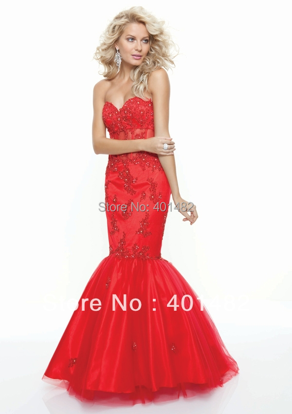 Freeshipping New Strapless Mermaid Gown Sweetheart Lace Tulle Red/Black Prom Dresses - Elaine Fashion --- 100% Satisfaction store