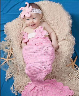 3pcs Mermaid baby set Knitting Star Warmers Toddlers Clothes handmade newborn infant photography girls props(China (Mainland))