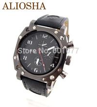 Aliosha hombre venta al por mayor gran cara wirstwatches V6 moda correa de cuero del cuarzo reloj de pulsera deportivo relojes para hombre
