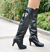 boots PU Women shoes Large size small yards 32 33 39 40 41 42 43 44 45 46 high heel 7CM Thin Heels EUR Size 31-47 - Emma's Fashion store