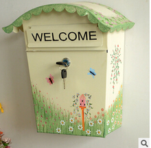 New Painting Mailbox Iron Postbox High Quality Newspaper Fashion Post Box Letter(China (Mainland))