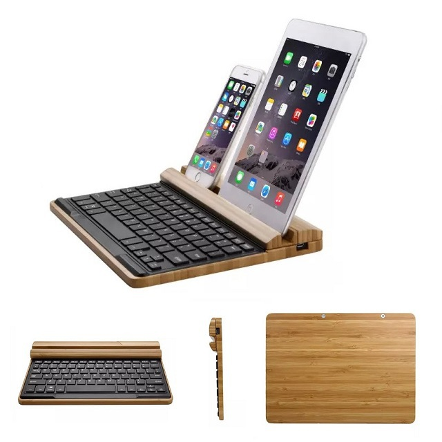 Original Seenda Wooden Bamboo Bluetooth Keyboard For Apple iMac Macbook iPad Dell Lenovo Asus PC Computer With Wood Holder Stand(China (Mainland))