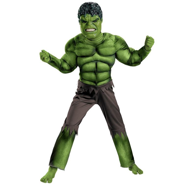 Hulk Avengers Classic Muscle Child Costume Jumpsuit and Mask 2pcs Outfit Ready goods to Ship(China (Mainland))
