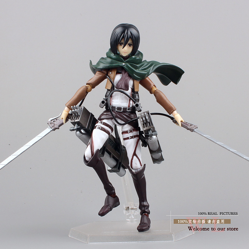 Toys PVC Action Figure Anime Attack Titan Figma 203 Mikasa Ackerman Collectible Model Toy 6 inch - WXY-TOY LTD store
