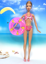 NK One Set Swimwear Beach Bathing Swimsuit + Slippers Swimming Buoy Lifebelt  Ring For Barbie Doll Accessories  Best Girl' Gift