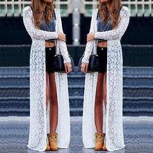 New Loose Women Boho Lace Floral Sheer Maxi Dress Long Cardigan Beach Shirt