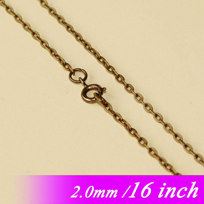 2mm Metal Jewelry Flat Cable Chains With Round Clasps Fashion Accessories 16 Antique Bronze Plated For Necklace Links Pendants<br><br>Aliexpress