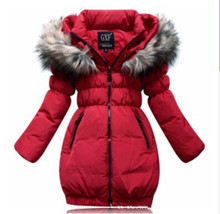 Fashion clothing fur hooded duck down children's down jackets outerwear long kids winter jacket girls coats outwear for children