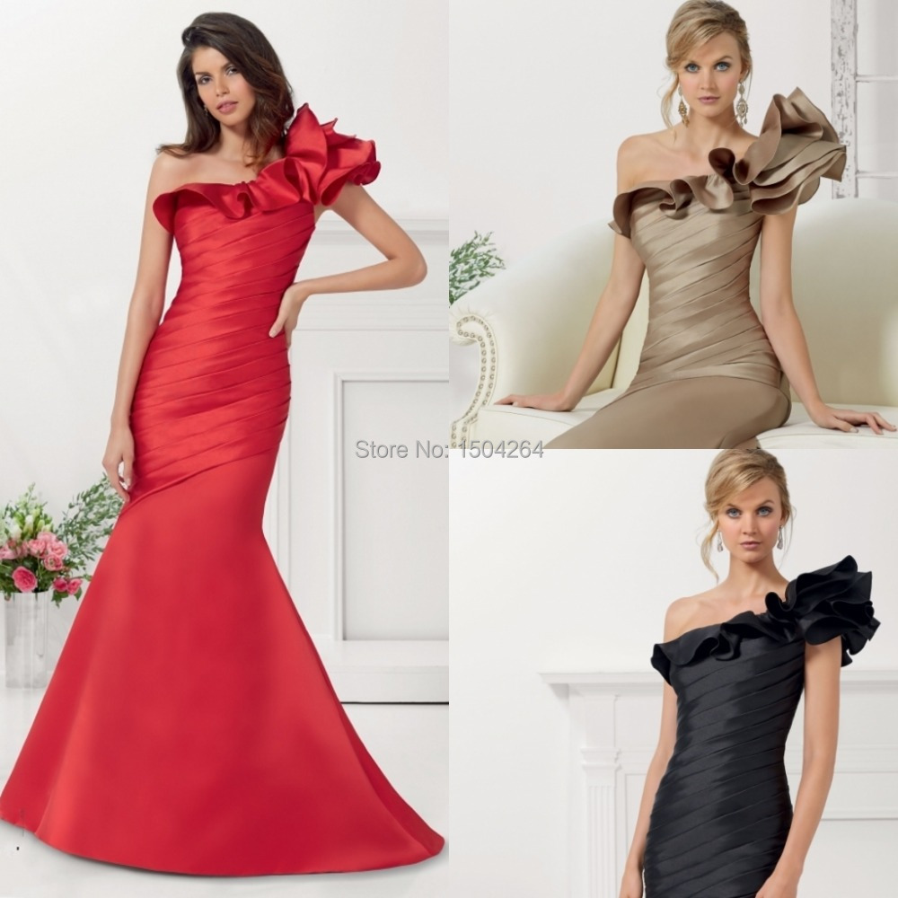 Trumpet One Shoulder Mother Dresses Red Mother Of The
