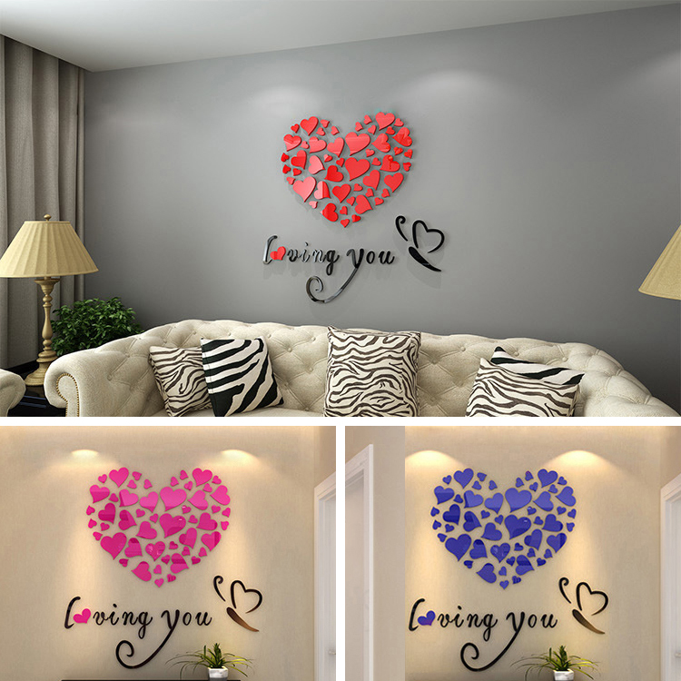 Wedding Bedroom Wall Decoration : Romantic diy art d acrylic love heart wall sticker