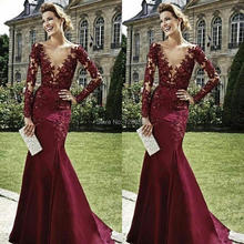 Lastest Burgundy Long Sleeve Evening Dresses Formal Sexy Deep V-neck Mermaid Prom Dress Vestido de Festa Longo com Renda(China (Mainland))