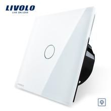 Versandkostenfrei, livolo eu-norm dimmer, weiß kristallglas-panel, wandleuchte touch dimmer, vl-c701d-11(China (Mainland))