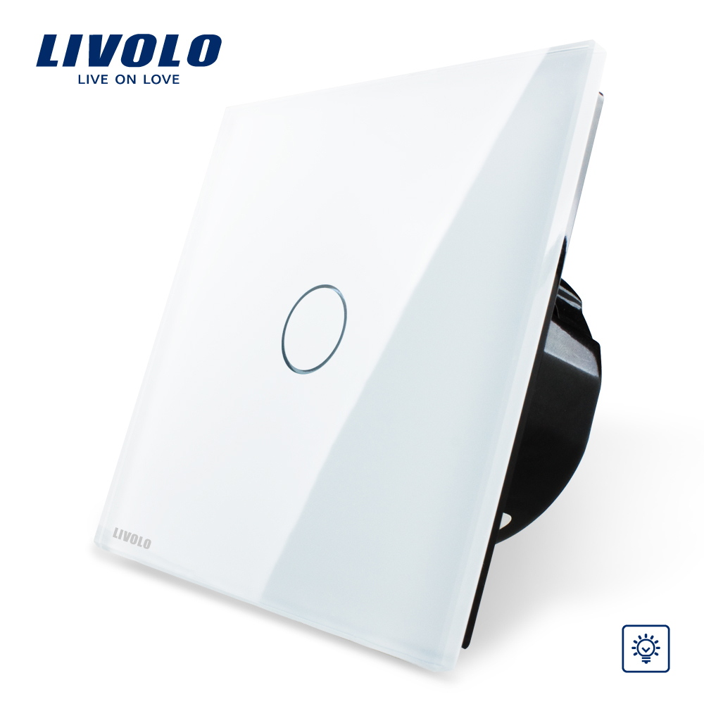 Free Shipping, Livolo EU Standard Dimmer Switch, White Crystal Glass Panel, Wall Light Touch Dimmer Switch, VL-C701D-11(China (Mainland))
