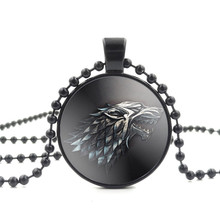 Movie Of Ice and Fire Game of Thrones Stark Wolf Pendant Glass Cabochon Picture Black Bead Chain Necklace for Women Fine Jewelry