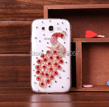 Elegant Peacock Bling Crystal Hard Back Clear Case Cover For Samsung Galaxy Grand Neo I9060 I9062(China (Mainland))