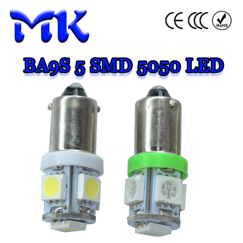 500X Car LED Car Auto LED BA9S 6523 1895 T4W BA9S 5 SMD 5050 LED 5smd 5LED Interior Bulbs White DC24V