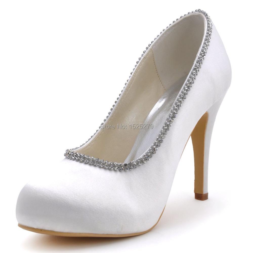 EP41032-IP Women White Ivory Formal Evening Bridal Party Pumps High Heels Wedding Platforms Rhinestones Satin Wedding Shoes