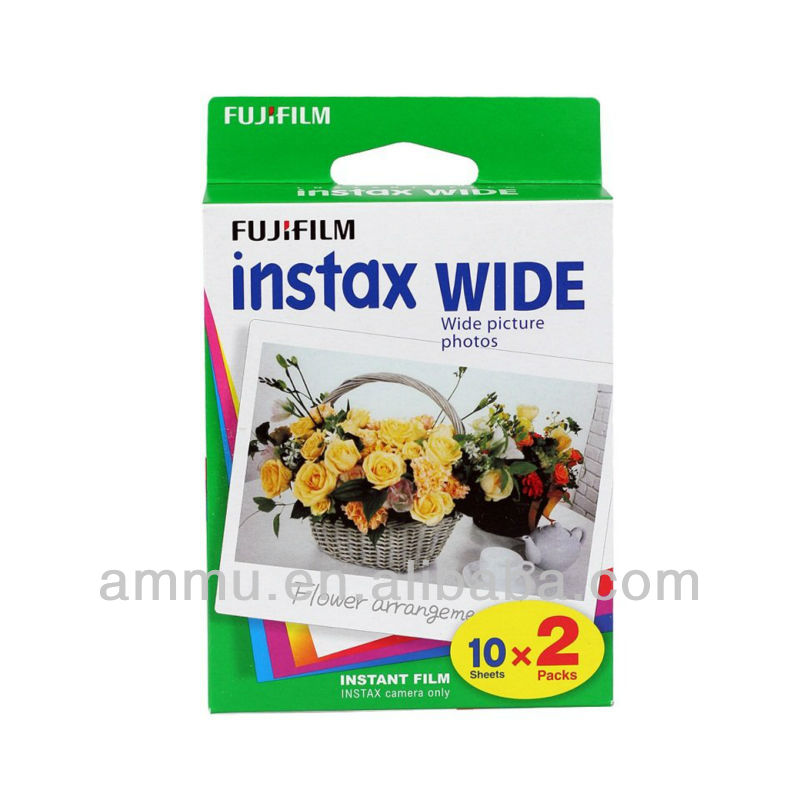 Fujifilm Instax Wide Film Twins Pack 20pcs White Edge Instant Polaroid Camera Photo Free Shipping(Hong Kong)