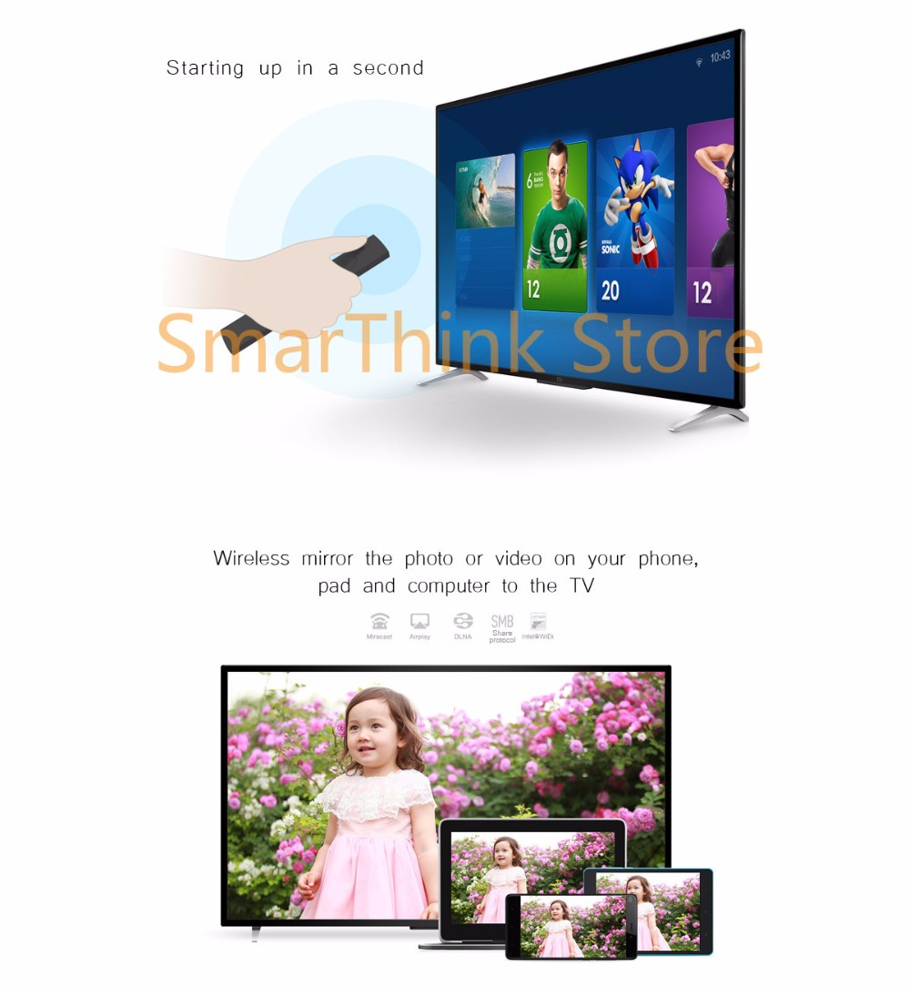 New Original Xiaomi TV 2 40 Inches 4K 1920*1080 Ultra HD Quad Core 1.5GB Ram 8.0GB Rom Bluetooth 4.0 Kitchen Smart  TV